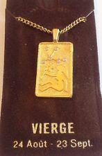 collier vintage couleur or médaille signe zodiac vierge cristaux diamant A0