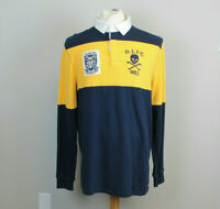 Polo Ralph Lauren Shirt Classic Fit Rugby Jersey Patch Men's Navy Yellow