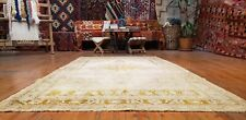 Late Antique Cr1900-1939's  Ivory-Gold Dye Wool Pile Oushak Rug 5x8ft