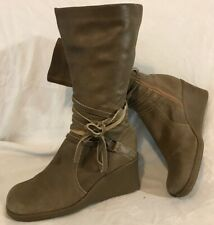 Dolcis Khaki Mid Calf Leather Lovely Boots Size 39 (171Q)