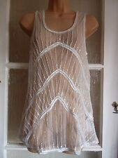 BNWT VILA GLITTERY GLEAMING IVORY LACE SEQUIN & BEADED SLEEVELESS PARTY TOP M