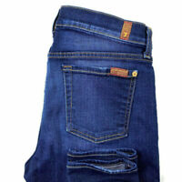 7 For All Mankind Womens 30 The Ankle Skinny Dark Wash Blue Stretch Jeans