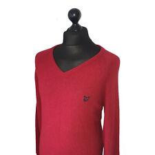 Men's LYLE & SCOTT Premium PURE NEW WOOL Vibrant Red V-Neck Jumper XL-L *VGC*