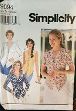 Simplicity pattern 9094 Misses' Button front vested front Tops size 10,12,14