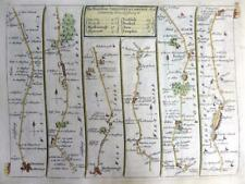 ROAD MAP BY JOHN SENEX c1762 HAND COLOUR  SALISBURY WILTSHIRE / WALES CARMARTHEN