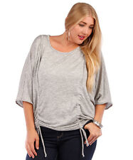 NEW! WOMEN'S PLUS SIZE CLOTHING HEATHER GRAY BLOUSE WITH RUCHING  5X