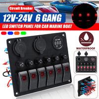 6 Gang 12V-24V switch panel USB Charger Rocker Voltmeter Battery For Car Boat