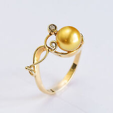 GOLDEN PEARL RING 8.5mm CULTURED PEARL GENUINE COGNAC DIAMOND 9K GOLD SIZE O NEW