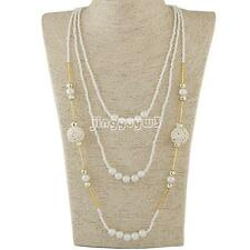 Fashion Womens Multilayer Pearl Glass Beads Necklace Sweater Chain Jewelry Gift