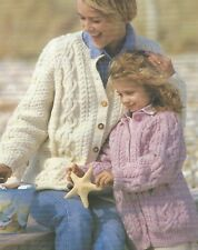 "Aran Cardigans Knitting Pattern Ladies Girls and Boys with pockets 26-48"" 1070"