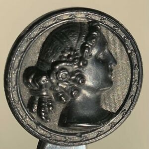 Antique Molded Horn Lady Portrait Button
