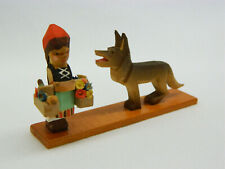 Vintage Erzgebirge Expertic Little Red Riding Hook German Carved Wood Figurine!