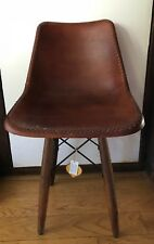 Faux leather dining office chair Wooden legs BROWNV Vintage Chic Contemporary