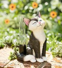 Adorable Black & White Cat Rain Gauge with Glass Rain Tube