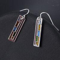 Woman Multi-Color 925 Silver Gemstone Ear Hook Drop Dangle Party Earrings Gift