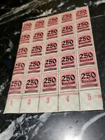 GERMANY 250 THOUSAND BLOCK OF 25 INFLATION STAMPS DEUTSCHE REICH UNUSED