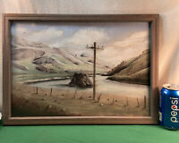 Vtg Original Pastel Chalk Painting Art Telephone Electric Pole Lake County frame