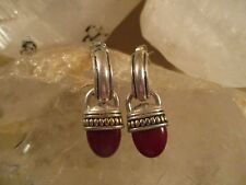 Two Tone Sterling Silver Red Jasper Earrings. Classic and Beautiful!