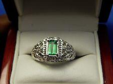 Green Garnet Tsavorite Baguette Filigree Sterling Silver Ring Free sizing