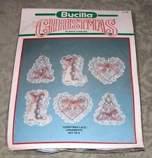 "Vintage Bucilla ""Christmas Lace"" Plastic Canvas Needlepoint Ornaments Kit"
