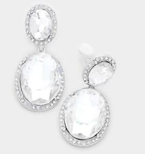 """2"""" Clip On Silver White Clear Pageant Crystal Rhinestone Earrings"""
