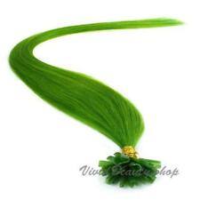 "100 Pre Glue Bond U Nail Tip Fusion Keratin Remy Human Hair Extensions Green 22"""