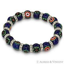 Crystal Beaded Stretch Bracelet Blue Venetian Millefiori Lampwork Glass Bead Cz