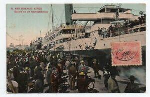 1916 ARGENTINA TO BRAZIL TRANSATLANTIC SHIP COLOR POSTCARD, SCARCE !!