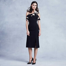 BNWT COAST Black Lina Ruffle Cocktail Evening Pencil Midi Dress Size 12 £139