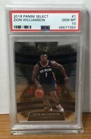 2019 ZION WILLIAMSON PELICANS PANINI SELECT ROOKIE #1 PSA 10 GEM MINT RC