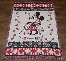 """Woven Disney 46"""" x 65"""" (inches) Mickey Mouse Christmas Throw Blanket Only *Read*"""