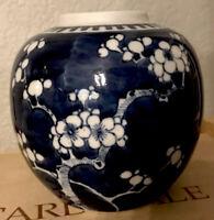 "Vintage Chinese Blue & White Plum Blossom Ginger Jar 5"" Tall Vase-circa 1960ish"