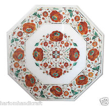 "18"" White Marble Coffee Corner Table Top Carnelian Mosaic Marquetry Decor H1814"