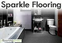 GREY Sparkly Bathroom Flooring / Glitter Effect Vinyl Floor. Sparkle Lino Next