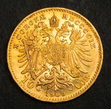 1909, Austria, Emperor Franz Josef I. NIce Gold 10 Corona Coin. (AU!) 3.38gm!