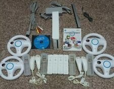 Nintendo Wii Console Mario Kart Bundle with Wii Sports, 4 Controllers & 4 Wheels