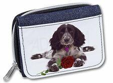Blue Roan Cocker Spaniel with Rose Girls/Ladies Denim Purse Wallet C, AD-SC13RJW