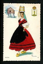 Embroidered clothing postcard Artist Elsi Gumier, Spain, Galicia woman #17