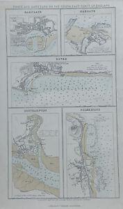 1856 Ports of England Ramsgate Margate Dover Southampton Folkestone Antique Map