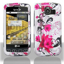 For LG Optimus S LS670 Protector Hard Case Snap Phone Cover White Purple Flowers