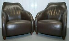 1 OF 9 JOQUER VERY COMFORTABLE BROWN TUB/CLUB LEATHER  ARMCHAIRS