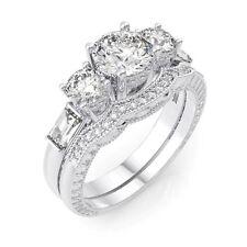4 CARAT .925 STERLING SILVER ROUND WEDDING ENGAGEMENT RING SET SIZE 5 6 7 8 9