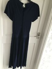 Jaegar Vintage Navy Blue Dress Size 10, Short Sleeves, Buttons In Front