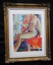 Extraordinaire pastel cubiste par Fernand Schlegel 1920-2002 femme nue assise