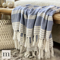 Eco Friendly Navy Blue / White Abstract Diamond Bed Sofa Throw Blanket Fringe