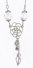 £30 Boho Silver White Rose Flower Pendant Necklace Swarovski Elements Crystal