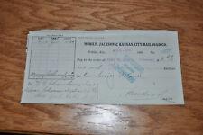 1908 Mobile, Jackson & Kansas City Bank Check MK&KC RR to DL&W Railroad Train NR