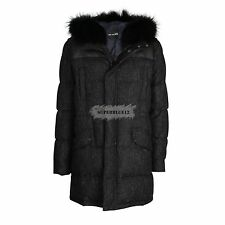 YVES SALOMON HOMME WOOL DOWN PARKA w/ RACCOON HOOD FUR AND LEATHER PATCH