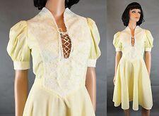 Prairie Girl Dress XS Vintage 70s Yellow White Swiss Dot Corset Top Flared Skirt
