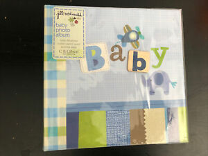 "Baby Photo Album - Holds 160 4x6"" Photos - C.R. Gibson NEW - Blue - Elephant"